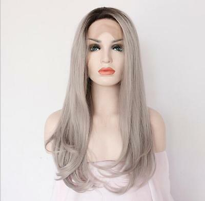 "18"" Heat resistant Lace front wig Synthetic hair straight  Ombre 1B/Gray color"