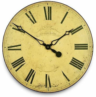 50cm Large Rustic Cream Swiss Clockmakers Vintage French Wall Clock