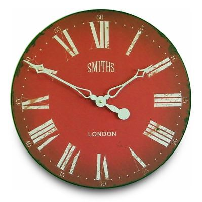 "50cm Large Red and White Antique Style ""Smiths"" Vintage Kitchen Wall Clock"