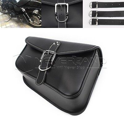 Motorcycle Saddle PU Leather Bag Left Side Storage Tool For Harley Sportster XL