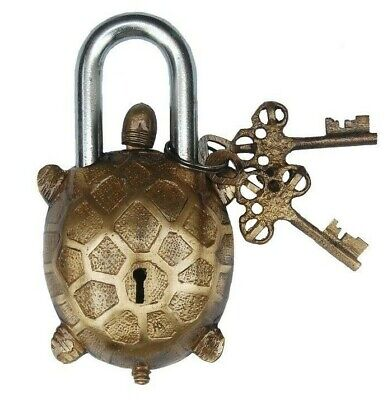 5044 Brass Made Lock with Key ANTIQUE Style LION Type Padlock