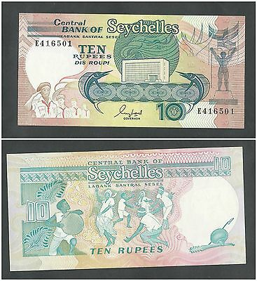 Seychelles 10 Rupees 1989 in (XF) CRISP Banknote P-32