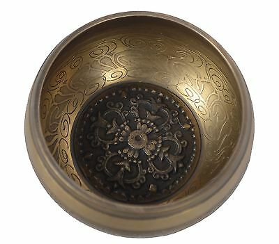 Meditation & Yoga Tibetan Singing Bowl Special Etching and ethnic case. (B43)