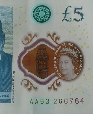 AA53 266764 New POLYMER £5 pound note First Edition Genuine