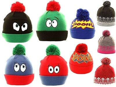 Kids Boys Girls Beanie Bobble Hat Chunky Knitted Warm Winter Pom Pom Ski Hats