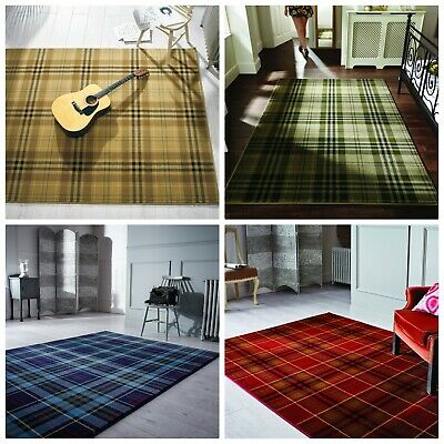 Modern Tartan Check Design Soft Rug Black Blue Red Beige Home Living Room Carpet