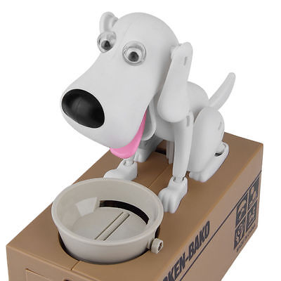 Cute Dog Model Stealing Puppy Bank Money Coin Electronic Saving Box Color white
