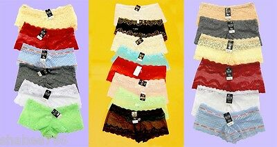 R1 Wholesale Lot of 6 Lace Boy Shorts Lingerie Sheer Panties Underwear Size S