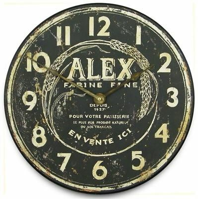 "15cm Mini ""Alex Flour Maker"" Black Rustic French Clock On Stand"