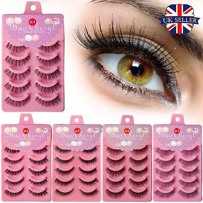 UK 5 Pairs False Eyelashes Natural Long Black Handmade Thick Make up Fake Lashes