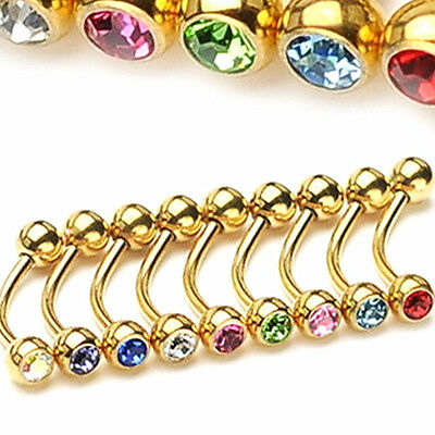 1 Pair 16G Surgical Steel Gold Gem Ball Barbell Curved Eyebrow Ring Bar Tragus
