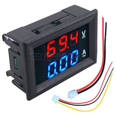 New DC 100V 10A Voltmeter Ammeter Blue + Red LED Digital Volt Meter Gauge New