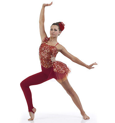 INFERNO Acro Contemporary Ballet Unitard Dance Costume Child & Adult Sizes