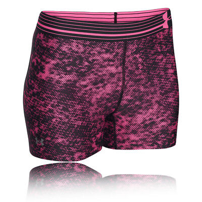 Under Armour Womens Pink Purple HeatGear Compression Printed Sports Shorts