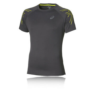 ASICS Stripe Mens Grey Lightweight Running Short Sleeve T Shirt Tee Top