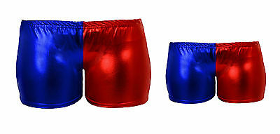 Mother Daughter Red & Blue Hot Pants Womens Girls Shorts Red Blue Ladies Kids