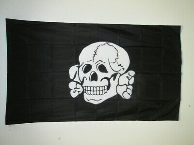 TOTENKOPF SKULL AND CROSSBONES FLAG 2' x 3' for a pole - DEAD'S HEAD FLAGS 60 x