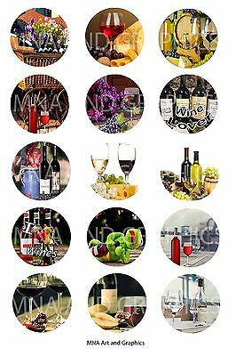 Wine and cheese romantic vintage themed 1 inch bottle cap IMAGES
