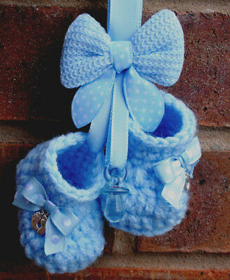 New Baby Christening Gift Present Boy Hanging Pram Charm Booties Shoes