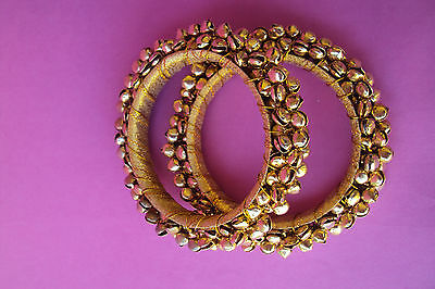 Indian Bollywood Jewelry Ghungroo Bracelet Bell Wedding Party Cuff Bangle Kada