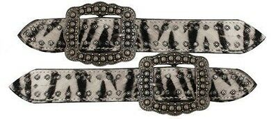 Showman Zebra Cowhide w/Brushed Nickle Studs and Buckle Ladies Spur Straps