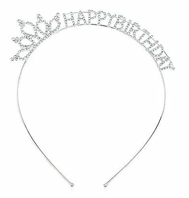 Silvertone Happy Birthday Tiara Crown Hair Piece with Clear Stones