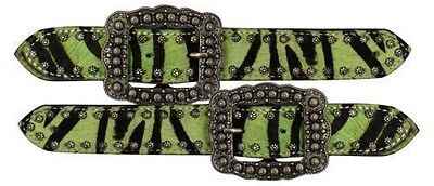 Showman Lime Zebra Cowhide w/Brushed Nickle Studs and Buckle Ladies Spur Straps