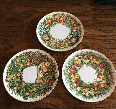 "Williamsburg Holiday Plates ""Andrea""by Sadek  Set Of 3- 8 1/4"" Plates. 1995"