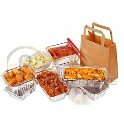 25 MEDIUM SIZE BROWN KRAFT CRAFT PAPER SOS CARRIER BAGS TAKE AWAY 8.5x13x10 inch