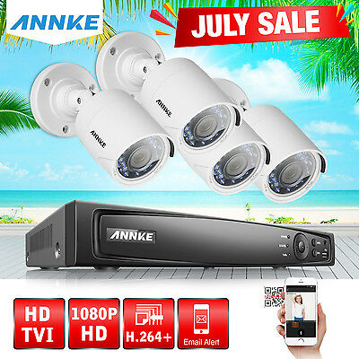 SANNCE 4CH HDMI 1080P DVR 2000TVL HD Outdoor Night Vision Security Camera System