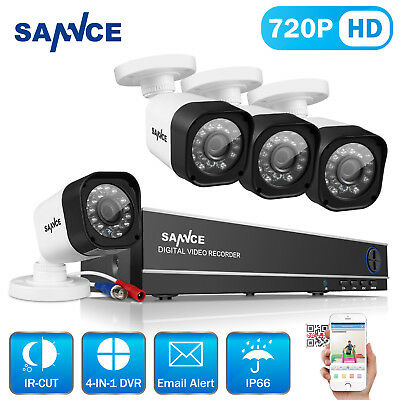 SANNCE 8CH 1080N Network DVR 720P IR Outdoor CCTV Security Cameras System Kit UK