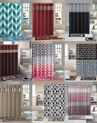 18Pc Set Printed Banded Bathroom Shower Curtain W/rings Bath Contour  Mat 3Towel