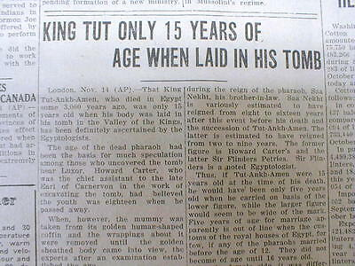 1925 newspaper AGE of KING TUT determined to be 15 at his DEATH in EGYPT