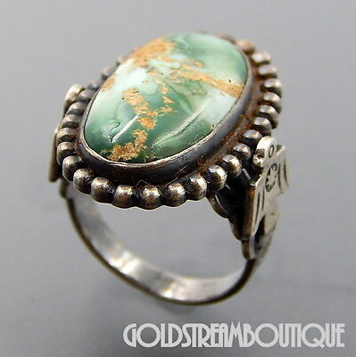 Fred Harvey Era Navajo Sterling Silver Green Agate Eagles Oval Beaded Ring, 5.5