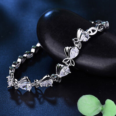 Fish Links Pear Clear Crystal Sapphire Silver Gold Filled Women Bracelet Bangle