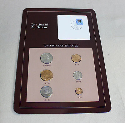 Franklin Mint, Coin Sets of All Nations, United Arab Emirates  w/ 1985 stamp.