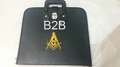 Hand Embroided Masonic Custom, Black M.m. Apron Case Gold