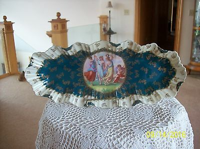 Victoria Austria Antique Porcelain China Ruffed Greek Goddess Celery Dish