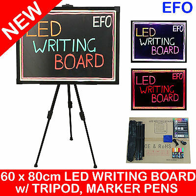 60 x 80cm LED WRITING BOARD FLUORESCENT ADVERTISING PROMOTION SIGN TRIPOD PENS