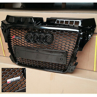 A3 S3 8P RS3 Grille Gloss Black Frame Rings Honeycomb Mesh Facelift 2008 to 2012