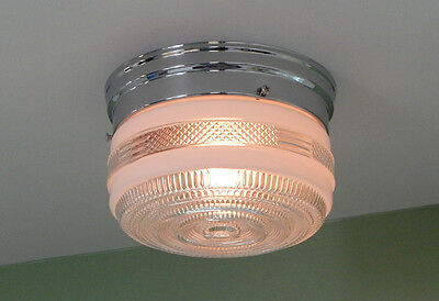 Vintage Utility Light. Vintage Opal Glass Shade. New Chrome Fixture