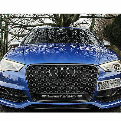 PT A3 8V to RS3 QUATTRO Grille Gloss Black Frame Rings Honeycomb Mesh 2012- 2015