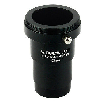 1.25 inch 5x Fully Blackened Metal Barlow Lens Camera T Adapter for Telescopes