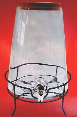 NEW Modern (6.6L) Large Conical Glass DRINKS BEVERAGE DISPENSER + STAND BOXED