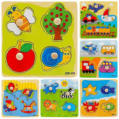 Baby Toddler Intelligence Development Animal Cognize Wooden Puzzle Toy Deluxe