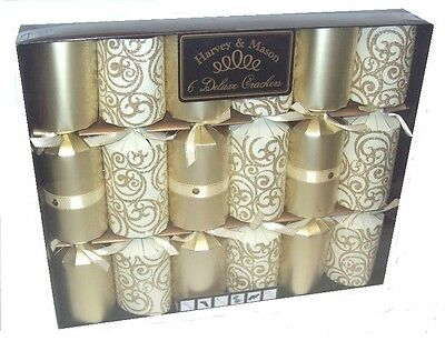Harvey & Mason 6 Large Deluxe Christmas Dinner Party Crackers Gold & Cream Swirl