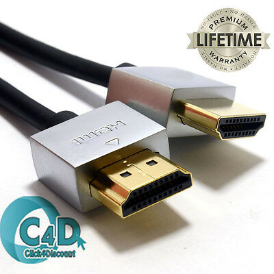 Ultra Slim HDMI Lead for Laptop to TV Cable High Quality Metal Ends Gold Plated