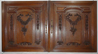 pair  antique FRENCH wood  panel  carved LOUIS XVI