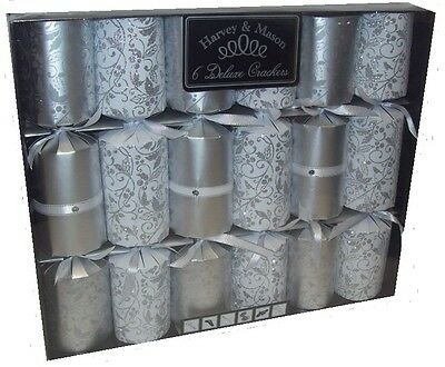 Harvey & Mason 6 Large Deluxe Christmas Dinner Party Crackers Silver & White