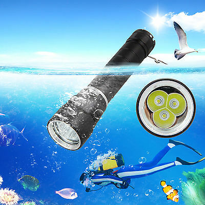 Diving 10000LM 3x XM-L T6 LED Diving Aluminum Flashlight Torch 26650 Battery New